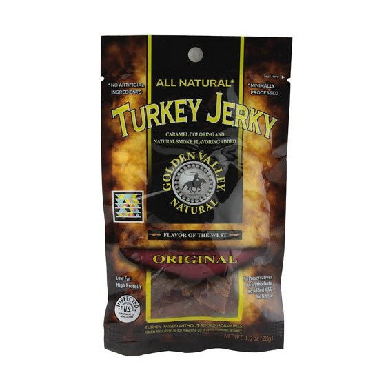 Golden Valley Natural Turkey Jerky with Natural Smoke Flavoring Original  1 oz