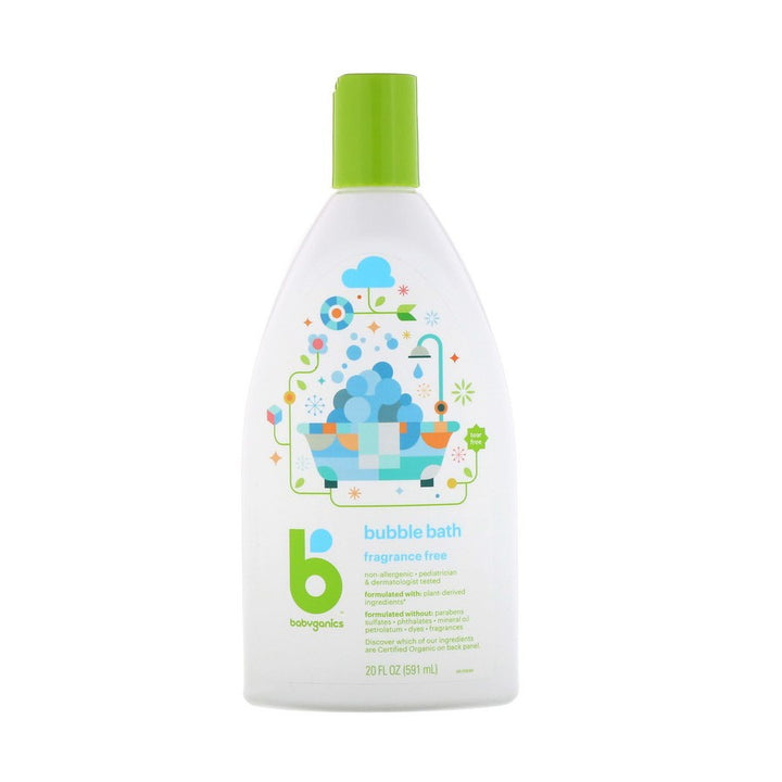 BabyGanics, Bubble Bath, Fragrance Free, 20 fl oz (591ml)