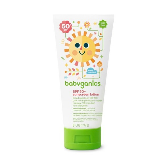 BabyGanics, Mineral-Based Sunscreen Lotion, SPF50+ , 6 fl oz (177ml)