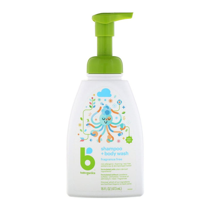 BabyGanics, Shampoo + Bodywash, Fragrance Free, 16 fl oz (473ml)