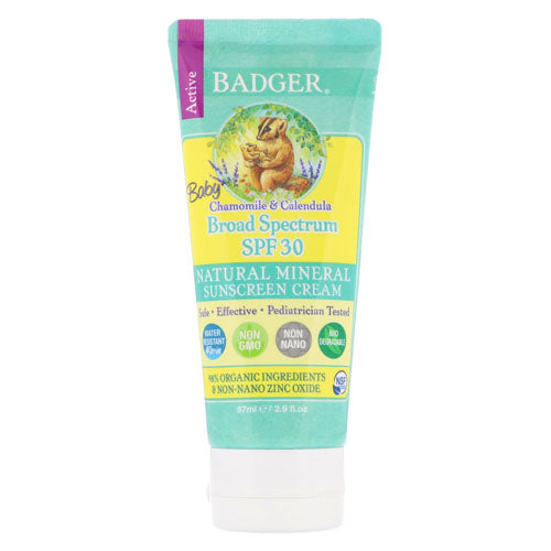 Badger Company, Active, Baby Sunscreen Cream, Broad Spectrum SPF 30, Chamomile & Calendula, 2.9 floz (87ml)