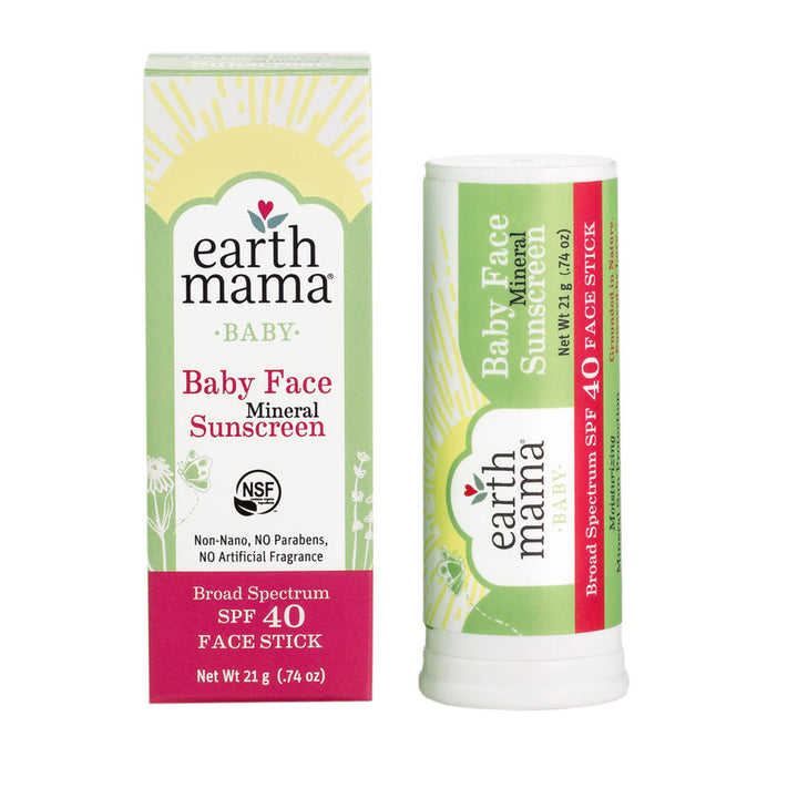 Earth Mama, Baby, Baby Face Mineral Sunscreen, Face Stick, SPF 40, 0.74 oz (21 g)