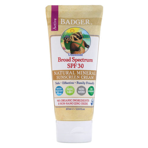 Badger Company, Active, Natural Mineral Sunscreen Cream, SPF 30, Unscented, 2.9 floz (87ml)
