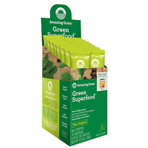 Amazing Grass Green SuperFood Drink Powder – 15 Packets