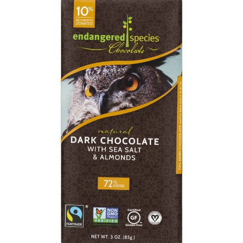 Endangered Species Dark Chocolate 72 Cocoa Bar Vegan Glulten Free Sea Salt and Almonds  3 oz
