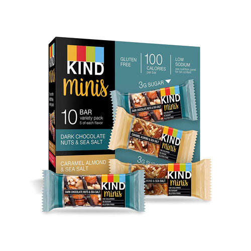 KIND Bars, Mini Dark Chocolate Nuts & Sea Salt and Caramel Almond & Sea Salt, 10 Bars, 0.7 oz (20g) Each
