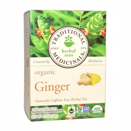 Traditional Medicinals, Herbal Teas, Organic Ginger, Naturally Caffeine Free, 16 Wrapped Tea Bags, .85 oz (24 g) Each