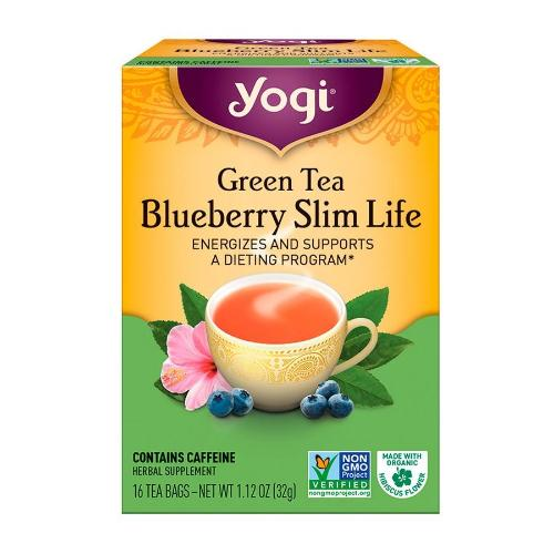 Yogi, Green Tea, Blueberry Slim Life, 16 Tea Bags, 1.12 OZ(32g)