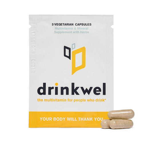 Drinkwel, for Hangovers, Nutrient Replenishment & Liver Support, Sample Pack X 4,3 Vegetarian Capsules Each