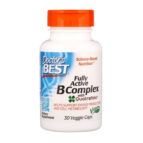 Doctor's Best, Fully Active B Complex with Quatrefolic, 30 Veggie Caps