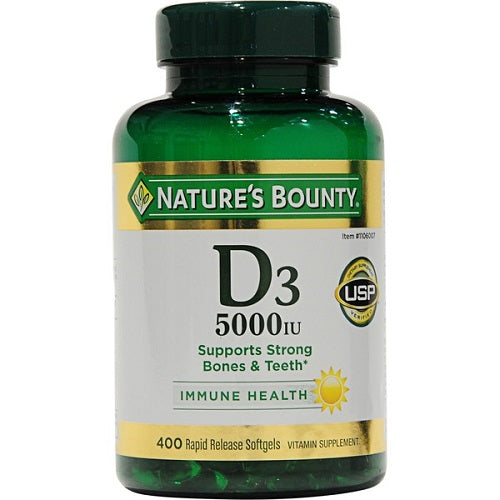 Nature's Bounty, Vitamin D3, 125mcg, 5000IU, 400 Rapid Release Softgels