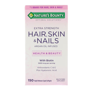 Nature's Bounty, Optimal Solutions, Extra Strength Hair, Skin & Nails, 150 Rapid Release Liquid Softgels