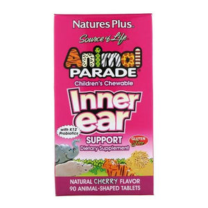 Natures Plus, Source of Life, Animal Parade, Children's Chewable, Inner Ear Support, Natural Cherry Flavor, 90 Animal-shaped Tablets