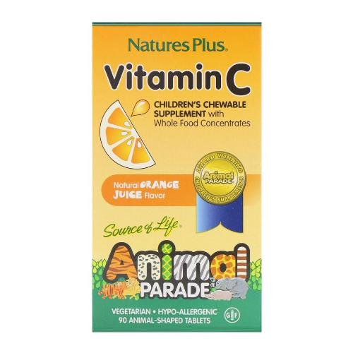 Natures Plus, Source of Life, Animal Parade, Vitamin C, Children's Chewable Supplement, Natural Orange Juice Flavor, 90 Animal-Shaped Tablets