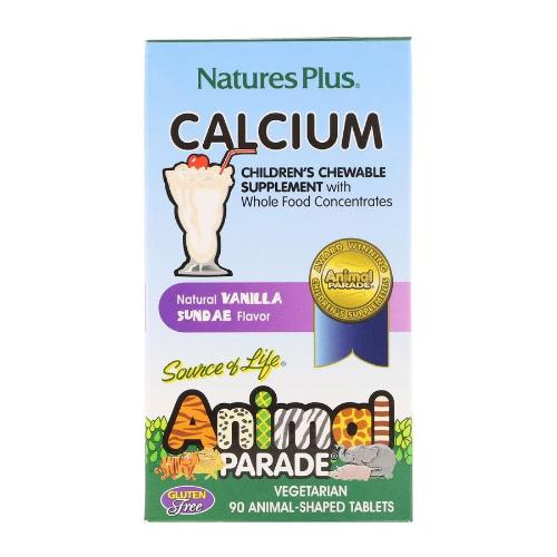 Natures Plus, Source of Life, Animal Parade, Calcium, Children's Chewable Supplement, Vegetarian, Natural Vanilla Sundae Flavor, 90 Animal-Shaped Tablets