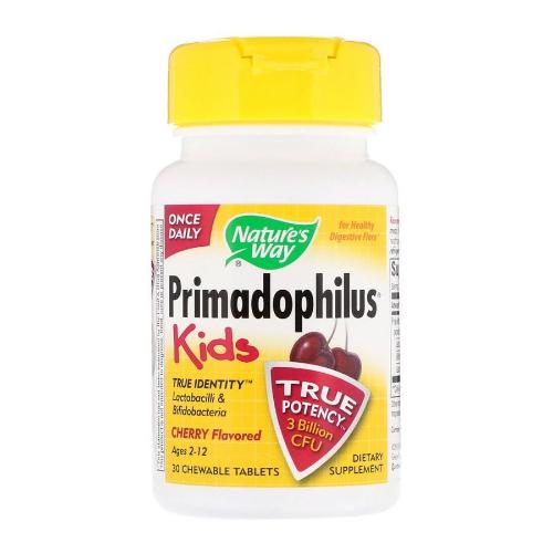 Nature's Way, Primadophilus for Kids, Cherry Flavored, 30 Chewable Tablets