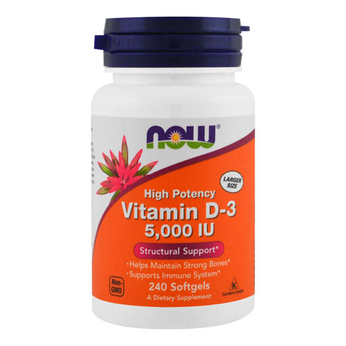 Now Foods, Vitamin D-3, High Potency, 5,000 IU, 240 Softgels
