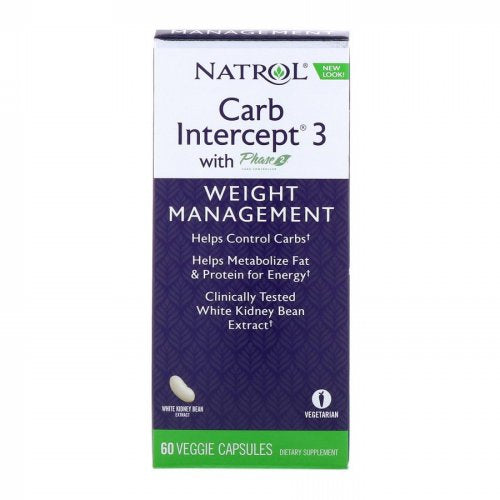 Natrol, Carb Intercept 3 with Phase 2 Carb Controller, 60 Veggie Capsules