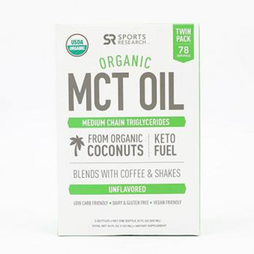 Sports Research, Organic MCT Oil,from ONLY Coconut,Non-GMO Project Veified & Vegan Certified, Unflavored, Twin Pack 2x20oz Bottle