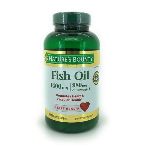 Nature's Bounty, Fish Oil 1400 mg, 130 Coated Softgels