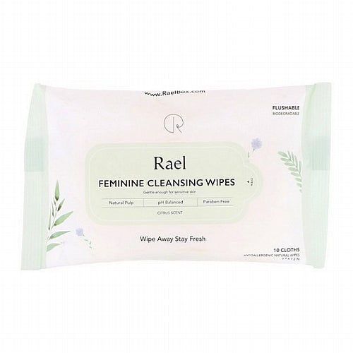 Rael, Feminine Cleansing Wipes, Citrus Scent, 10 Wipes