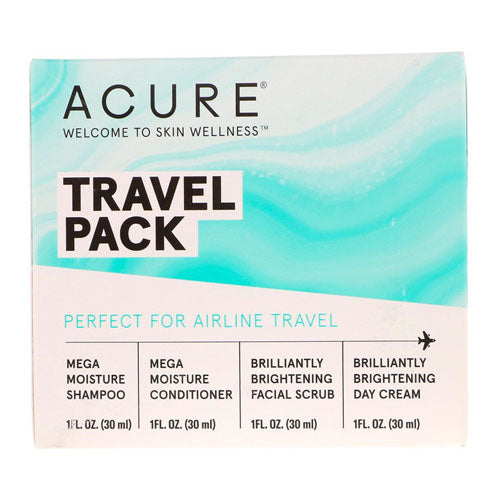 Acure, Travel Pack, Shampoo, Conditioner, Facial Scrub, Day Cream, 4 Pack, 1 oz (30ml) Each