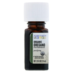 Aura Cacia, Pure Essential Oil, Organic Oregano, 0.25 fl oz (7.4 ml)