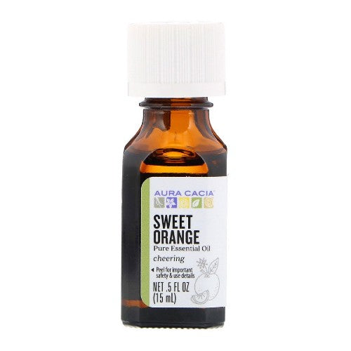 Aura Cacia, Pure Essential Oil, Sweet Orange, 0.5 fl oz (15 ml)