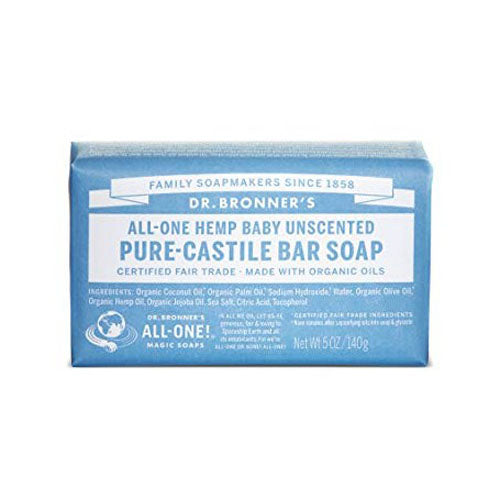 Dr.Bronner's, All-One Hemp Pure-Castile Bar Soap Baby Unscented, 5 Oz (140g)