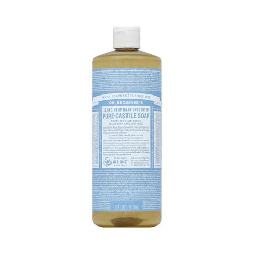 Dr. Bronner's, 18-IN-1 Pure-Castile Liquid Soap Baby Unscented, 32oz (946ml)