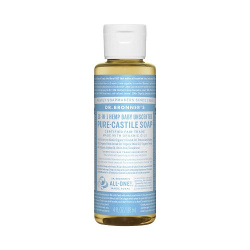 Dr.Bronner's, Pure Castile Liquid Soap Baby Unscented, 4 Fl oz (118ml)