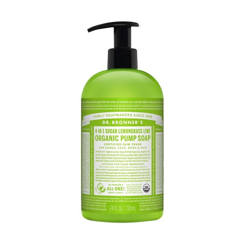 Dr.Bronner's, 4-IN-1 Sugar Lemongrass Lime Organic Pump Soap, 24 fl oz (710ml)