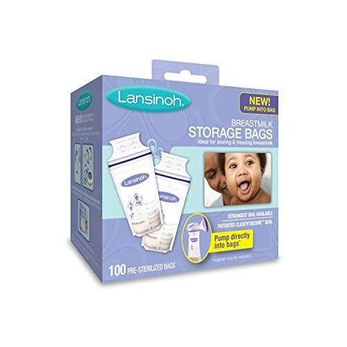 Lansinoh, Breastmilk Storage Bags, 100 Pre-Sterilized Bags
