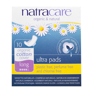 Natracare, Ultra Pads, Organic Cotton Cover, Long, 10 Pads