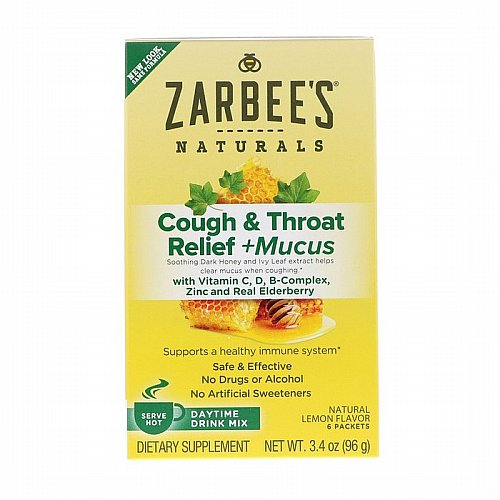 Zarbees, Cough & Throat Relief + Mucus Daytime Drink Mix, Natural Lemon Flavor, 6 Packets, 3.4 oz (96 g)