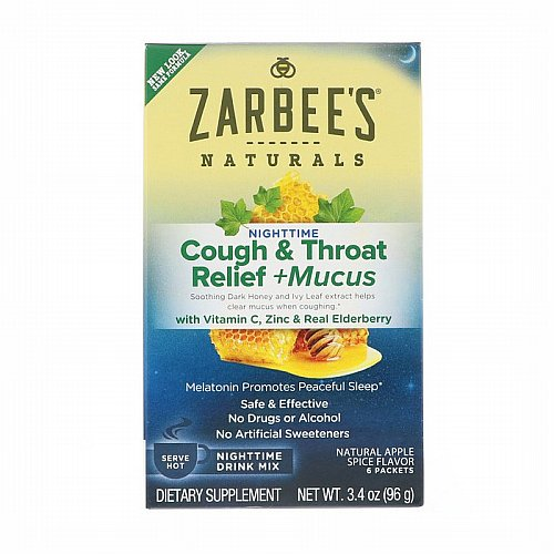 Zarbees, Cough & Throat Relief + Mucus Nighttime Drink Mix, Natural Apple Spice Flavor, 6 Packets, 3.4 oz (96 g)