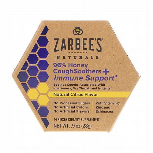 Zarbees, 96% Honey Cough Soothers + Immune Support, Natural Citrus Flavor, 14 Pieces