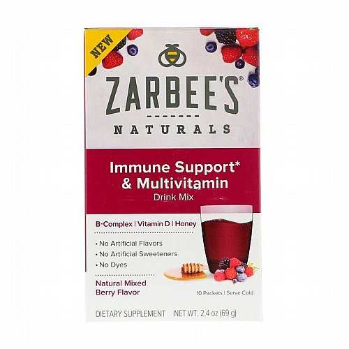 Zarbees, Immune Support & Multivitamin Drink Mix with B-Complex, Vitamin D, Honey, Natural Mixed Berry Flavor, 10 Packets, 2.4 oz (69 g)