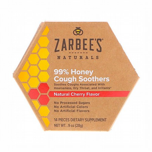 Zarbees, 99% Honey Cough Soothers, Natural Cherry Flavor, 14 Pieces