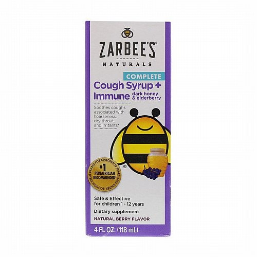 Zarbees, Childrens Complete Cough Syrup + Immune with Dark Honey & Elderberry, Natural Berry Flavor, 4 fl oz (118 ml)