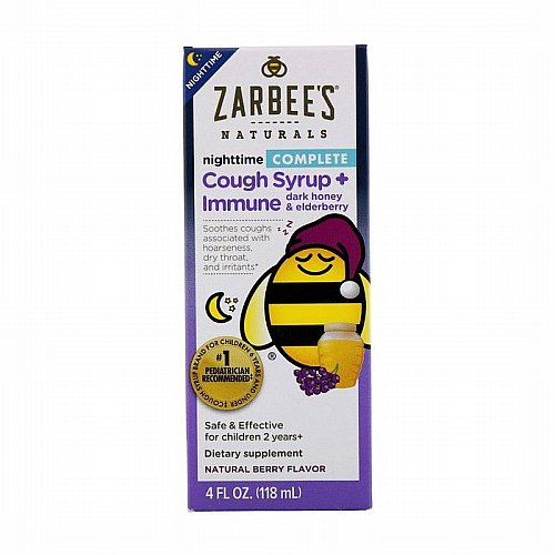 Zarbees, Childrens Complete Nighttime Cough Syrup + Immune, Natural Berry Flavor, 4 fl oz (118 ml)