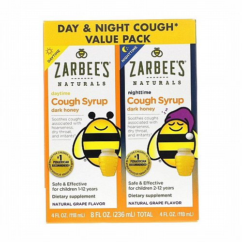 Zarbees, Naturals, Childrens Cough Syrup with Dark Honey, Daytime & Nighttime Value Pack, Natural Grape Flavor, 4 fl oz (118 ml) Each