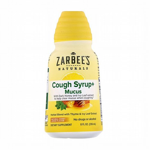 Zarbees, Cough Syrup + Mucus, Natural Honey Lemon, 8 fl oz (236 ml)