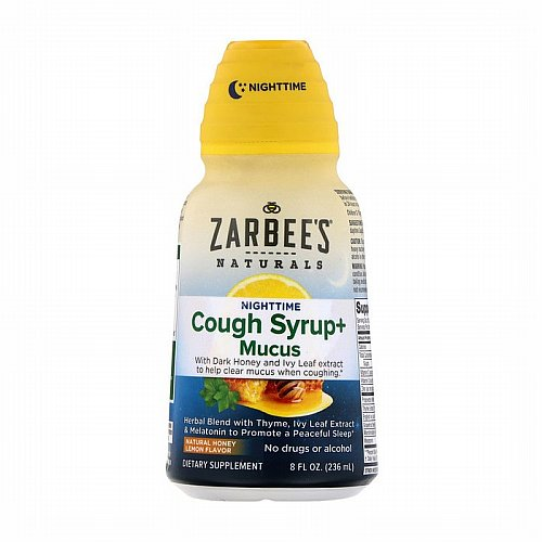 Zarbees, NightTime Cough Syrup + Mucus, Natural Honey Lemon, 8 fl oz (236 ml)