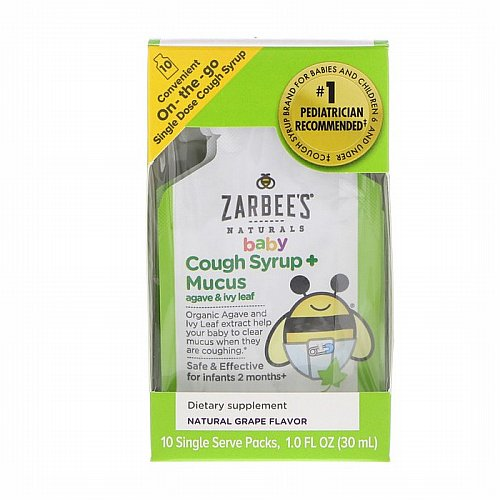 Zarbees, Baby Cough Syrup + Mucus with Organic Agave and Ivy Leaf, On-the-Go, Natural Grape Flavor, 10 Single Serve Packs, 1.0 fl oz (30 ml) Each