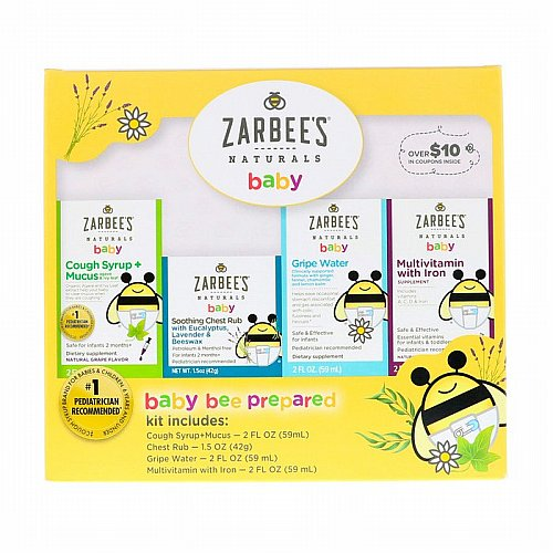 Zarbees, Naturals, Baby Bee Prepared Kit, Including Cough Syrup + Mucus, Soothing Chest Rub, Gripe Water, Multivitamin with Iron, 7.5 fl oz