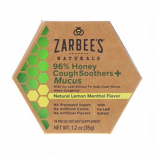 Zarbees, 96% Honey Cough Soothers + Mucus, Natural Lemon Menthol Flavor, 14 Pieces