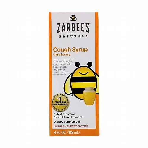 Zarbees, Childrens Cough Syrup with Dark Honey, Natural Cherry Flavor, 4 fl oz (118 ml)