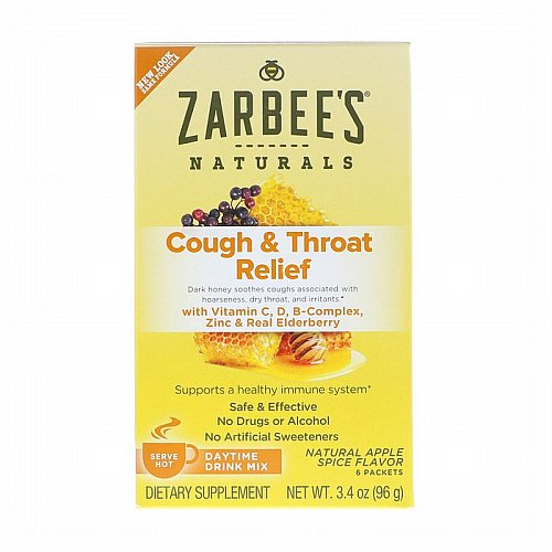 Zarbees, Cough & Throat Relief, Daytime Drink Mix, Natural Apple Spice Flavor, 6 Packets, 3.4 oz (96 g)