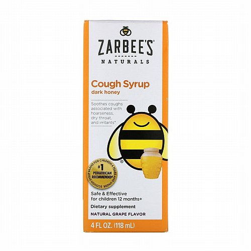 Zarbees, Childrens Cough Syrup with Dark Honey, Natural Grape Flavor, 4 fl oz (118 ml)